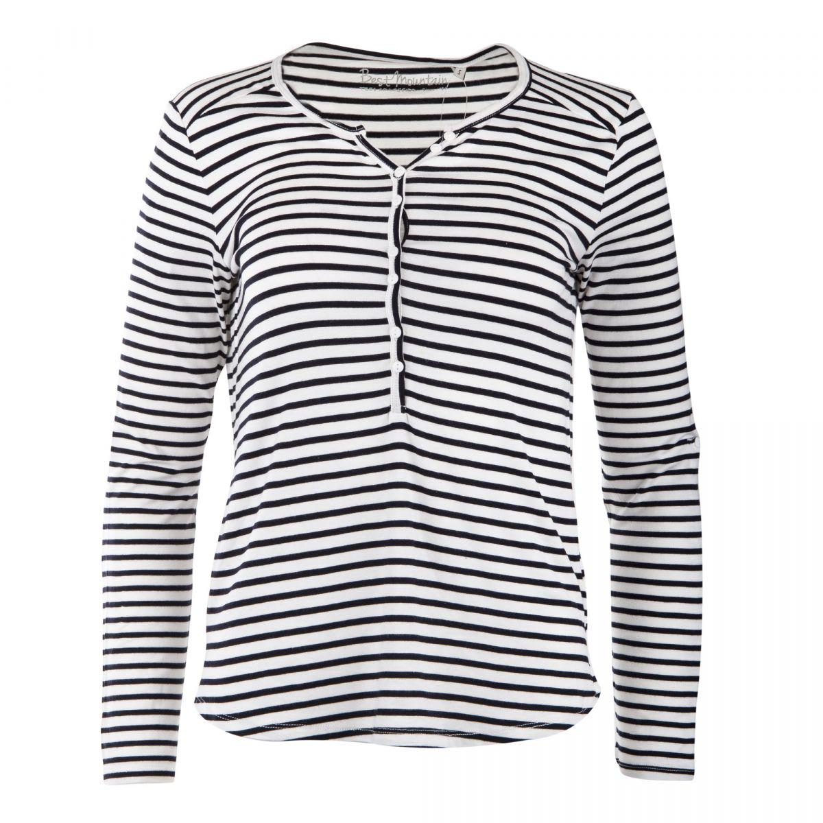 Tee shirt marinière col tunisien femme BEST MOUNTAIN marque pas cher prix  dégriffés destockage ... ee67fd4fc1d