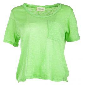 Tee shirt à manches courtes vert femme AMERICAN VINTAGE marque pas cher prix dégriffés destockage
