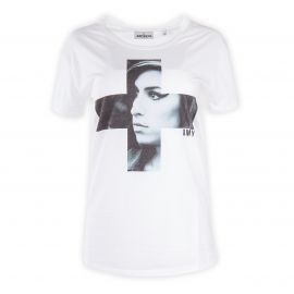 Tee shirt blanc floqué Amy Winehouse femme ARTISTS marque pas cher prix dégriffés destockage