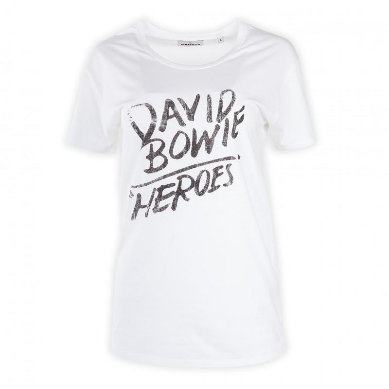 Tee shirt blanc à inscription femme ARTISTS marque pas cher prix dégriffés destockage