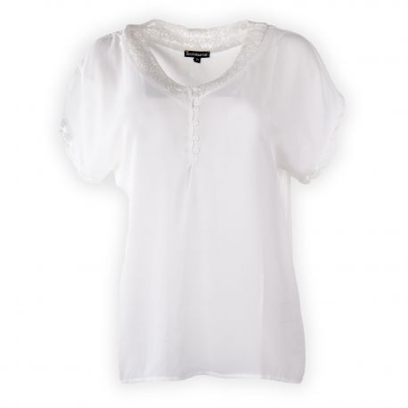 Haut blanc détail dentelle femme BEST MOUNTAIN marque pas cher prix dégriffés destockage