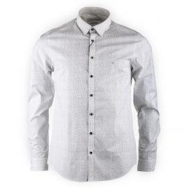Chemise blanche imprimée manches longues homme CALVIN KLEIN marque pas cher prix dégriffés destockage