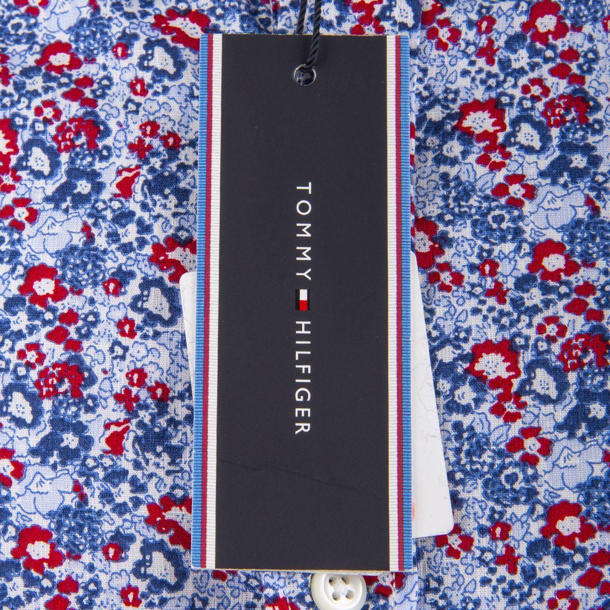 chemise bleu  rouge imprime fleuri homme tommy hilfiger