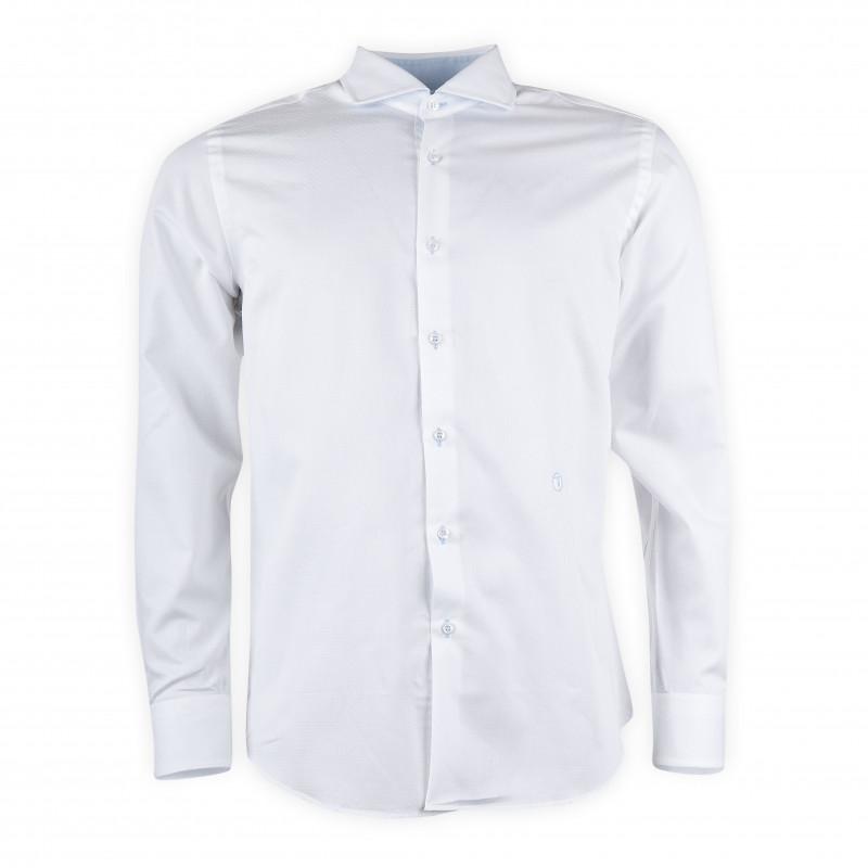 Chemise blanche à points blancs homme TRU TRUSSARDI marque pas cher prix dégriffés destockage