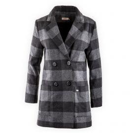 Manteau gris à carreaux femme DDP marque pas cher prix dégriffés destockage