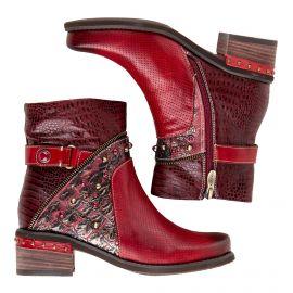 Bottines en cuir rouge femme ETHEL 05 LAURA VITA marque pas cher prix dégriffés destockage