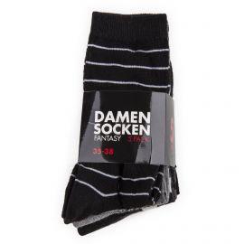 Pack de 5 paires de chaussettes rayées femme DAMEN SOCKEN marque pas cher prix dégriffés destockage