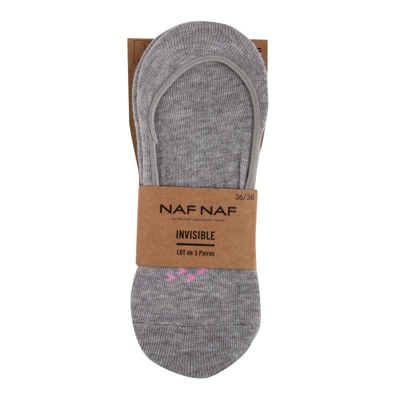 Lot de 3 paires de chaussettes invisibles Damaris Femme NAF NAF marque pas cher prix dégriffés destockage