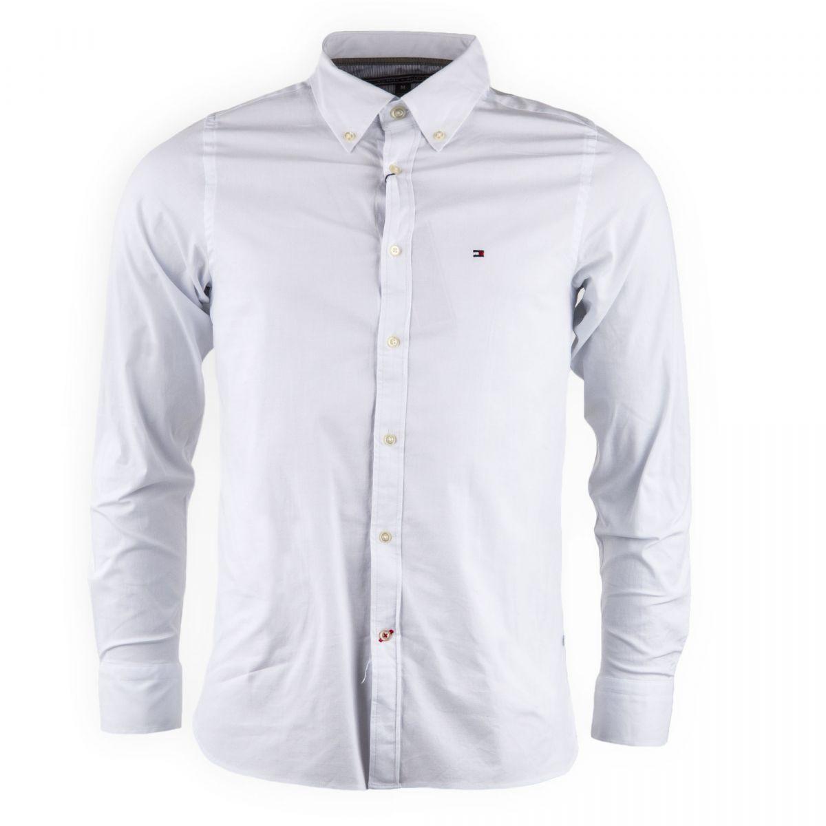 5a79cb0f03c Chemise blanche slim fit Homme TOMMY HILFIGER marque pas cher prix  dégriffés destockage ...