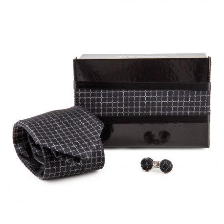 Coffret Cravate en soie & Boutons de manchette noir Homme TORRENTE marque pas cher prix dégriffés destockage