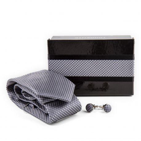 Coffret Cravate en soie & Boutons de manchette gris Homme TORRENTE marque pas cher prix dégriffés destockage