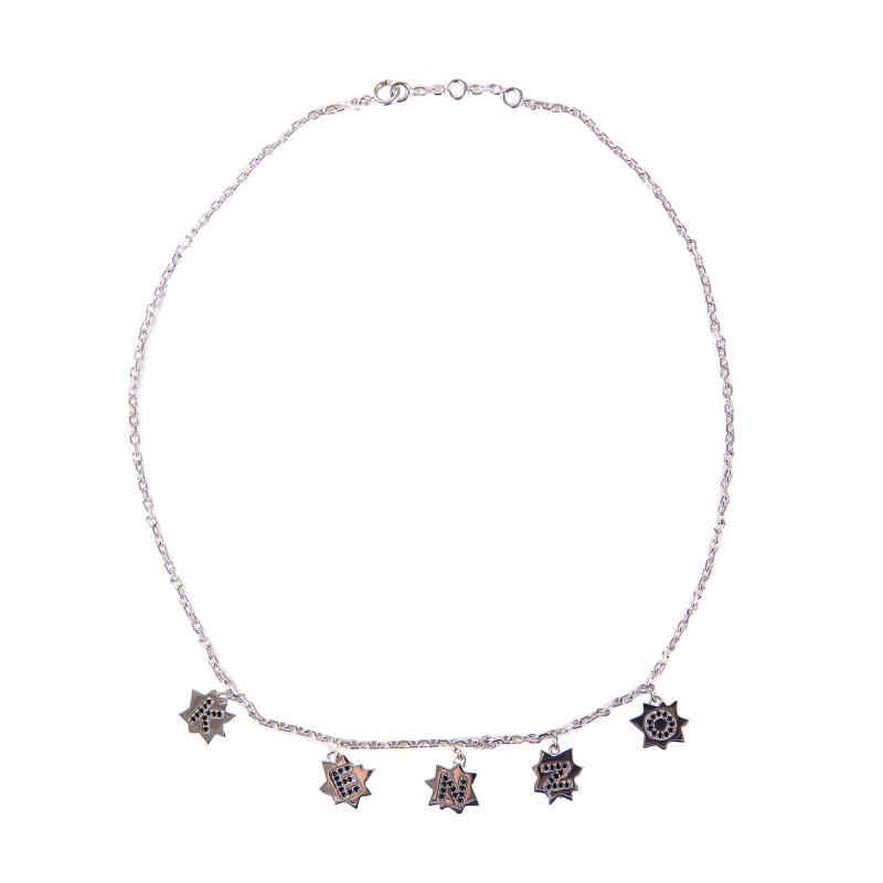 Collier chaîne pendentifs ras de cou étoiles argent rhodié Femme KENZO marque pas cher prix dégriffés destockage