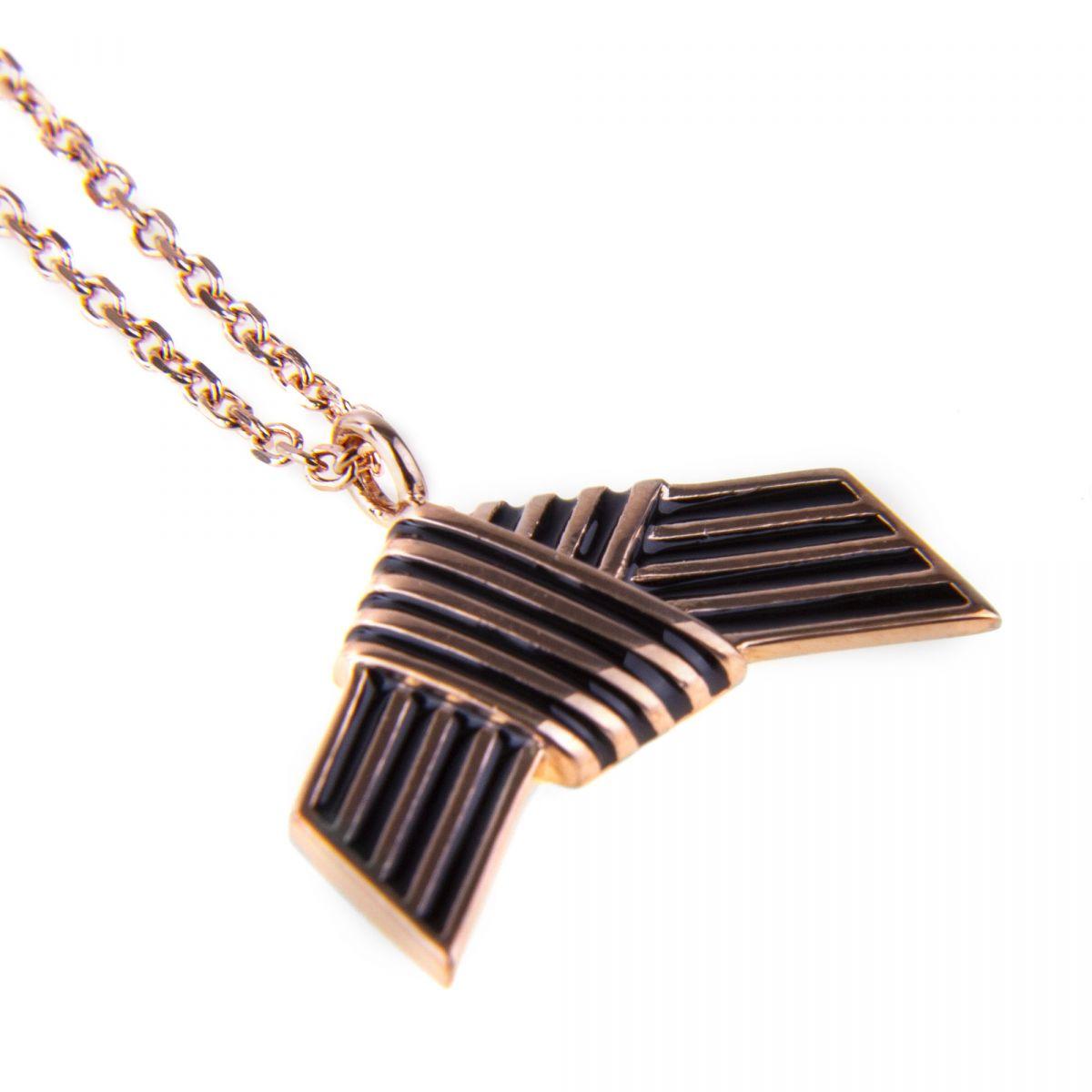 Collier chaîne pendentif noeud plaqué or rose Femme KENZO marque pas cher prix dégriffés destockage