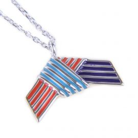 Collier chaîne pendentif noeud plaqué argent rhodié Femme KENZO marque pas cher prix dégriffés destockage