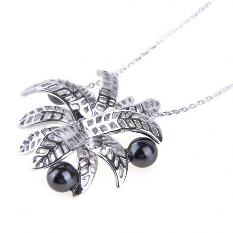 Collier chaîne pendentif Fleur argent rhodié et perles grises Femme KENZO marque pas cher prix dégriffés destockage
