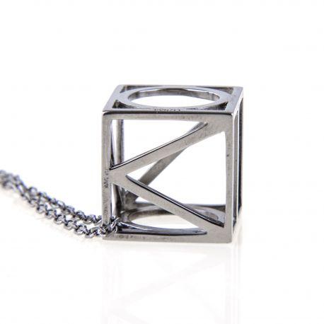 Collier chaîne pendentif cube Argent rhodié gris anthracite Femme KENZO marque pas cher prix dégriffés destockage