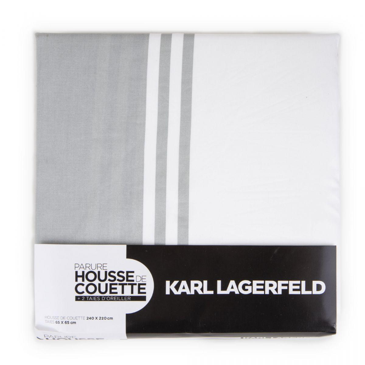 parure de lit gris et blanc 240x220 karl lagerfeld prix. Black Bedroom Furniture Sets. Home Design Ideas