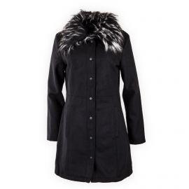 Manteau long noir col fausse fourrure LKJ Davina BRAVE SOUL
