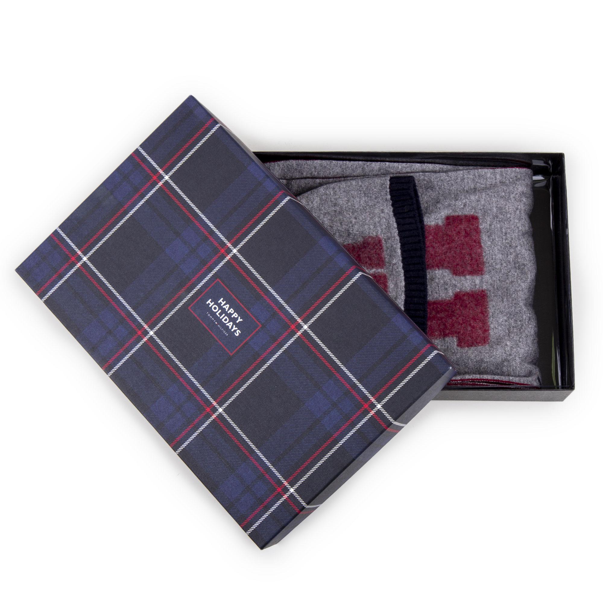 emballage fort haute couture juste prix Coffret Bonnet & Écharpe grise Homme TOMMY HILFIGER