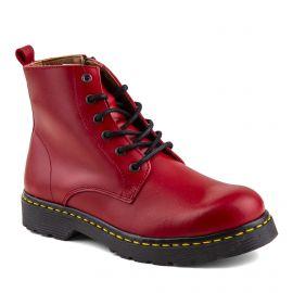 Boots rouges cuir zip latéral Femme ORLANDO marque pas cher prix dégriffés destockage