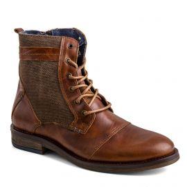 Boots camel cuir zip latéral Homme ORLANDO marque pas cher prix dégriffés destockage