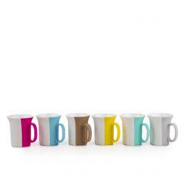 Service 6 tasses à café multicolores PRADEL marque pas cher prix dégriffés destockage