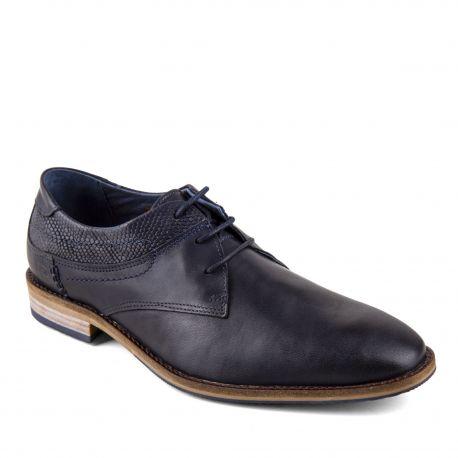 Chaussures derbies bleues marines cuir Homme PIERRE CARDIN marque pas cher prix dégriffés destockage
