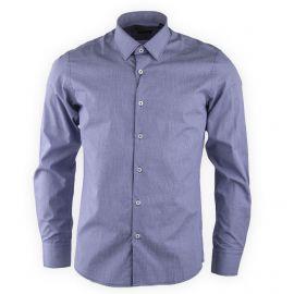 Chemise bleue à carreaux slim fit manches longues Homme TORRENTE