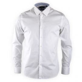Chemise slim blanche unie manches longues Homme TORRENTE