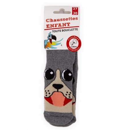 Chaussettes Bouclette coton imprimé chien Enfant AZERTEX marque pas cher prix dégriffés destockage