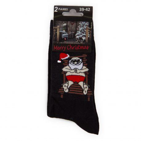 Lot de 2 paires de chaussettes noires Père Noël Homme AZERTEX marque pas cher prix dégriffés destockage