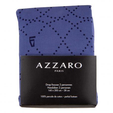 Drap housse 100% percale de coton 160X200cm AZZARO marque pas cher prix dégriffés destockage
