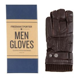 Gants marrons en cuir Homme Arillo Leather FREEMAN T.PORTER