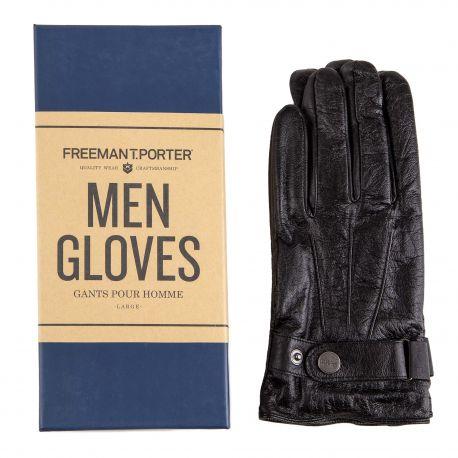 Gants noirs en cuir homme Aydon Leather FREEMAN T.PORTER marque pas cher prix dégriffés destockage
