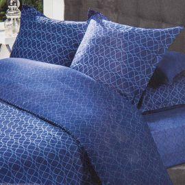 Parure de lit housse de couette 200x200 & taies d'oreiller percale de coton AZZARO marque pas cher prix dégriffés destockage