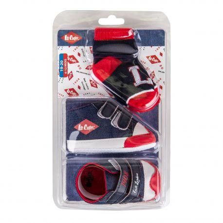 Ensemble chaussures + chaussettes bleu foncé bébé LEE COOPER marque pas cher prix dégriffés destockage
