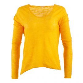 Pull fin jaune moutarde femme AMERICAN VINTAGE