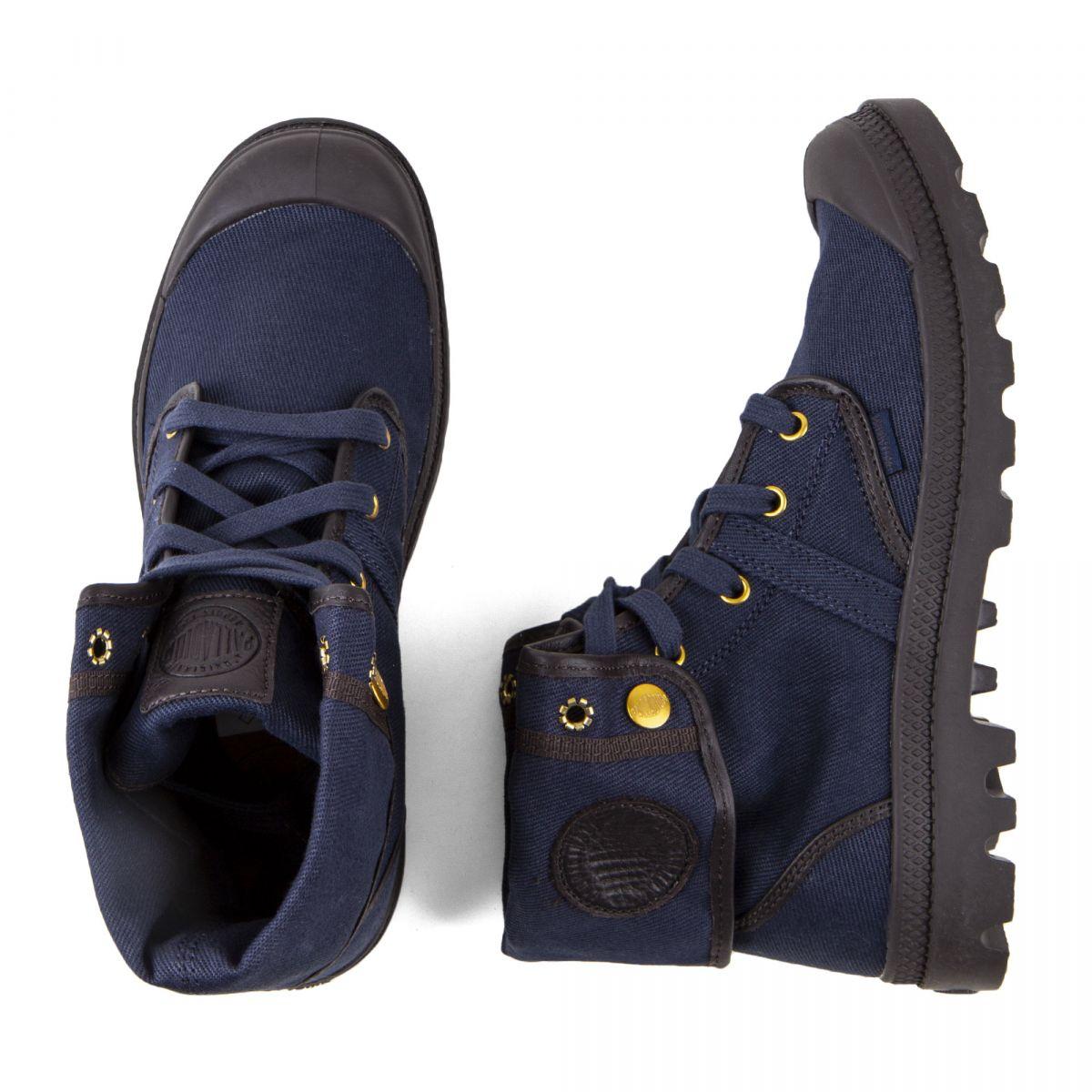 Boots montantes en toile bleu marine Homme Pallabrouse Baggy