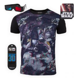 Tee shirt Star Wars 3D Relief Chasseur de primes Boba Fett Homme FREEGUN marque pas cher prix dégriffés destockage