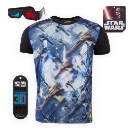 Tee shirt Star Wars 3D Relief Vaisseau Luke X-Wing Homme FREEGUN marque pas cher prix dégriffés destockage