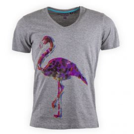Tee shirt gris col V Flamingo homme BEST MOUNTAIN