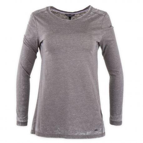 8c2f996fd1e Tee shirt uni manches longues femme TOMMY HILFIGER à prix dégriffé !