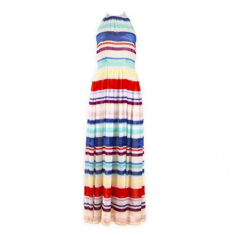 Robe longue blanche à rayures femme TOMMY HILFIGER marque pas cher prix dégriffés destockage