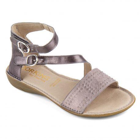 Sandales grises à strass femme Oda Bufalino Effeso DORKING marque pas cher prix dégriffés destockage