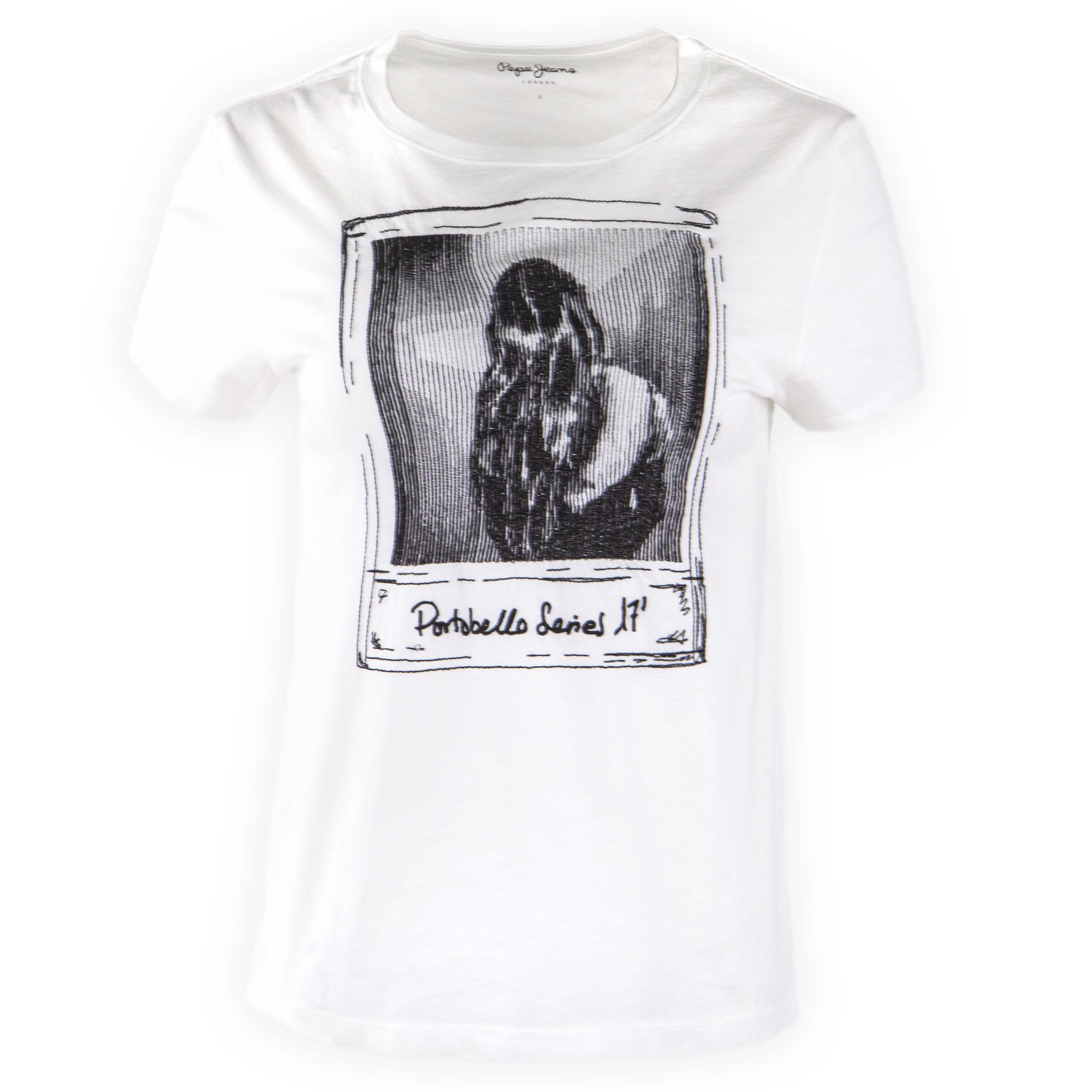 f5b3372fa4a55 ... ce tee shirt imprimé blanc à manches courtes pour femme de la marque  PEPE JEANS à prix dégriffé. Tee shirt Femme 26219 19.99 Degriffstock  in_stock