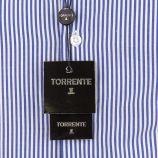 Chemise homme bleu rayée manches longues TORRENTE marque pas cher prix dégriffés destockage