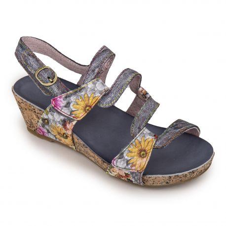 Sandales compensées à motif fleuri Femme Beclindao 209 LAURA VITA marque pas cher prix dégriffés destockage