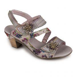 Sandales à talons motif fleuri gris Femme Becttinoo 239 LAURA VITA marque pas cher prix dégriffés destockage