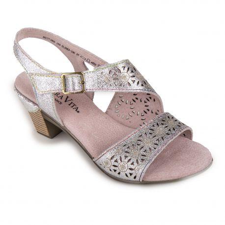 Sandales argentées à talons Femme Becttinoo 159 LAURA VITA marque pas cher prix dégriffés destockage