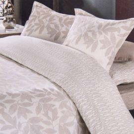 Parure de lit beige housse de couette 240x220 & taies d'oreiller percale de coton AZZARO marque pas cher prix dégriffés desto...
